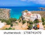 Chrisoskalitissa Monastery or Panagia Chryssoskalitissa located on the southwest coast of Crete near Elafonisi,  Greece.