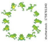 A Group Of Funny Cute Frogs Are ...