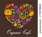 heart shape with organic food... | Shutterstock .eps vector #175878869
