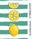fresh lemons background.... | Shutterstock .eps vector #1758812459