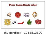 set of different ingredients... | Shutterstock .eps vector #1758813800