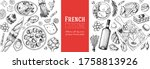 french food top view  hand... | Shutterstock .eps vector #1758813926