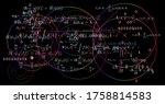 quantum mechanics equations and ... | Shutterstock .eps vector #1758814583