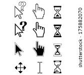 set of monochrome pixel cursors | Shutterstock . vector #175882070
