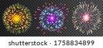 set of isolated vector fireworks | Shutterstock .eps vector #1758834899