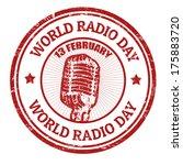 world radio day grunge rubber... | Shutterstock .eps vector #175883720