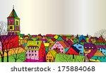 travel postcard in 1960s pop... | Shutterstock .eps vector #175884068