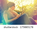 retro photo of music listening... | Shutterstock . vector #175885178