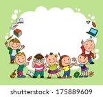 group of merry children hold... | Shutterstock .eps vector #175889609