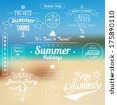 retro summer travel labels set... | Shutterstock .eps vector #175890110