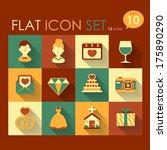 wedding icon set vector flat...