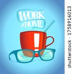 work at home vector banner with ...   Shutterstock .eps vector #1758916013