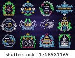 wedding neon invitation card....   Shutterstock .eps vector #1758931169