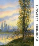 Watercolor Landscape. Poplar In ...