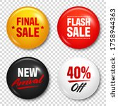 realistic badges with text.... | Shutterstock .eps vector #1758944363