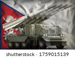 tactical short range ballistic missile with arctic camouflage on the Nepal flag background. 3d Illustration