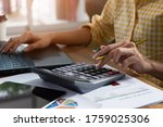 young businesswoman working on... | Shutterstock . vector #1759025306