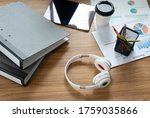 working equipment placed on the ...   Shutterstock . vector #1759035866
