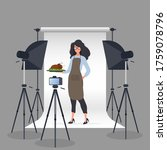 culinary blogger. a woman in a... | Shutterstock .eps vector #1759078796