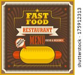 retro fast food poster. vector... | Shutterstock .eps vector #175912313