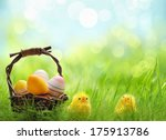 Yellow Easter Chicks And Baske...
