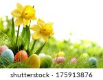 easter eggs on meadow with... | Shutterstock . vector #175913876