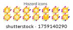hazard icon set. 14 filled... | Shutterstock .eps vector #1759140290
