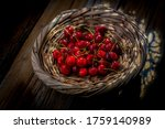 Red And Fresh Cherries In A...