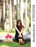 beautiful asian lady in black... | Shutterstock . vector #175922528