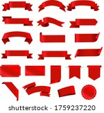 red labels and ribbon set white ...   Shutterstock .eps vector #1759237220