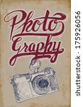 vintage camera poster with hand ... | Shutterstock .eps vector #175926056