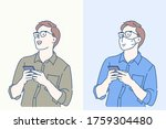 smart casual man using... | Shutterstock .eps vector #1759304480
