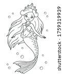 beautiful princess mermaid... | Shutterstock .eps vector #1759319939