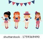 Set Of Girls Wearing American...