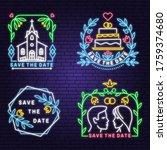 wedding neon invitation card....   Shutterstock .eps vector #1759374680