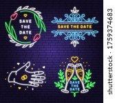 wedding neon invitation card....   Shutterstock .eps vector #1759374683