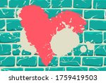 Heart Drawn On Brick Wall With...