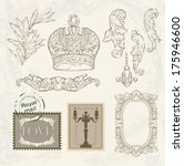 victorian vignette and crown | Shutterstock .eps vector #175946600