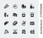 vector food mini icons set  2 | Shutterstock .eps vector #175953008