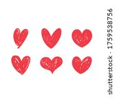 heart doodles set. collection... | Shutterstock .eps vector #1759538756