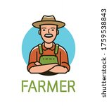 farmer in hat logo or label.... | Shutterstock .eps vector #1759538843