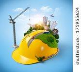 city on the construction helmet.... | Shutterstock . vector #175955624