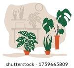 houseplant set with monstera ... | Shutterstock .eps vector #1759665809