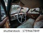 Retro Car Interior. Steering...