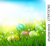 easter eggs in the grass  ... | Shutterstock .eps vector #175973780