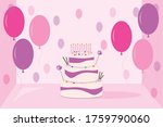 a pink cake with balloons and... | Shutterstock .eps vector #1759790060