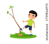 aggressive boy breaking young... | Shutterstock .eps vector #1759816973