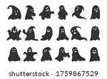 black silhouette ghost set.... | Shutterstock .eps vector #1759867529