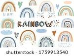 colorful cute rainbow boho... | Shutterstock .eps vector #1759913540