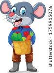 A Mouse Farmer Holding Basket...
